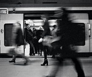 black and white, people, and train image