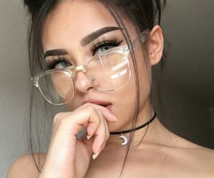 gril, lentes, and hair image