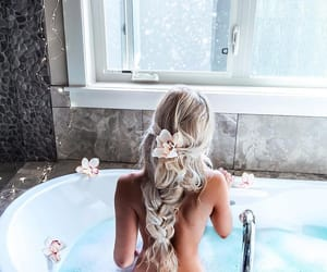 bath, braid, and blonde image