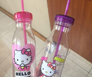 HelloKitty, botella, and pink image