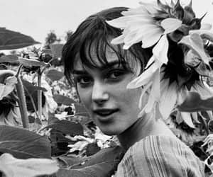 flowers, keira knightley, and black and white image
