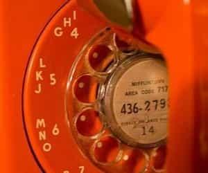 old, orange, and telephone image