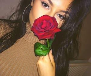 girl, rose, and eyes image