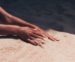 beach, beautiful, and hands image