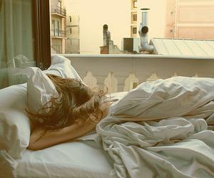 girl, bed, and sleep image