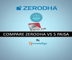 zerodha broker charges, lowest broker charges, and 5 paisa broker charges image