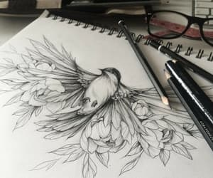 art, bird, and drawing image