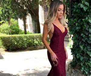 burgundy prom dress, mermaid prom dress, and lace prom dress image