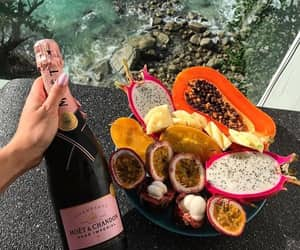 champagne, food, and fruit image