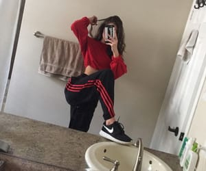 girl, red, and adidas image