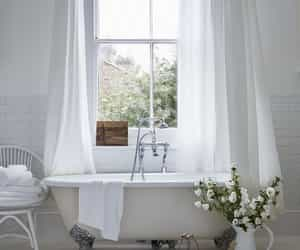 bathroom, white, and bath image