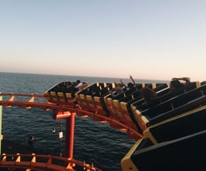 ocean, people, and Roller Coaster image