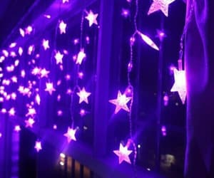 purple, stars, and light image