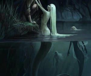 art, mermaid, and lake image