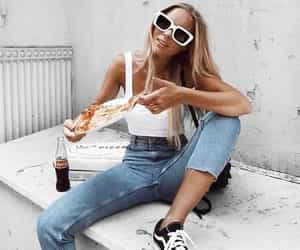 fashion, pizza, and girl image