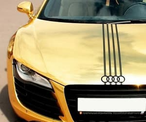 car, gold, and audi image