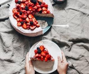 berries, cake, and homemade image