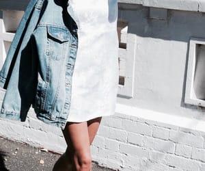 denim jacket, dress, and fashion image