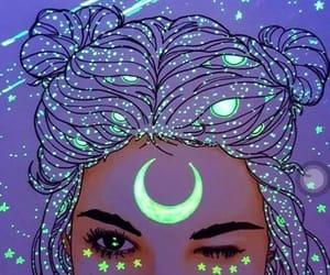 moon, purple, and illustration image