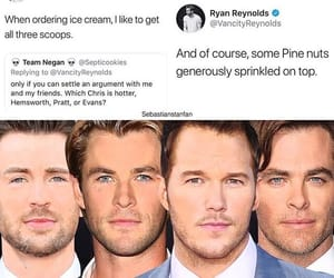ryan reynolds, chris hemsworth, and chris pratt image