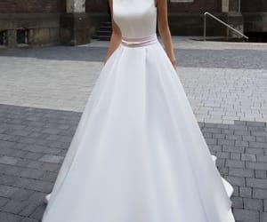 wedding dress, a-line wedding dress, and white wedding dress image