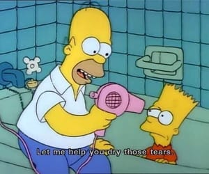 the simpsons, tears, and bart image