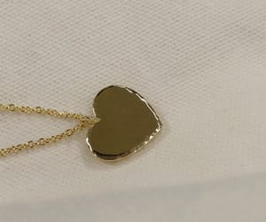 gold necklace, heart, and white image