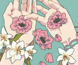 flowers, hands, and wallpaper image