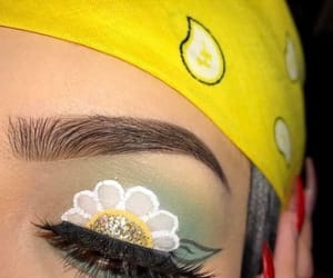 eyes, flower, and yellow image
