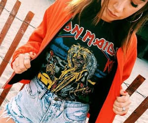 ashley tisdale, iron maiden t-shirts, and gold hoops image
