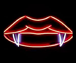 vampire, lips, and neon image