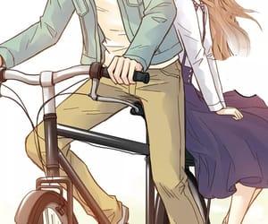 art illustration, boy, and bicycle image