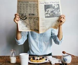 breakfast, food, and newspaper image
