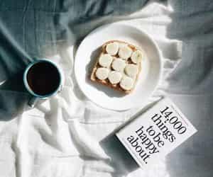 book, coffee, and banana image