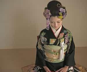 tradition, asian woman, and kimono image