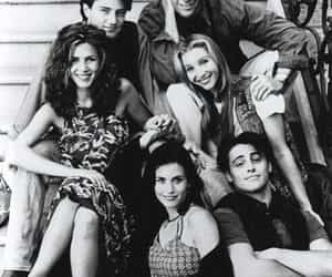 friends, f.r.i.e.n.d.s, and black and white image