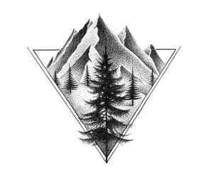 pine tree, tattoo, and tree image