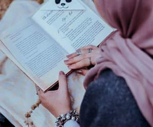 hijab, book, and reading image