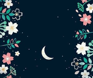 moon, wallpaper, and flowers image