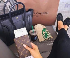 starbucks, Louis Vuitton, and travel image