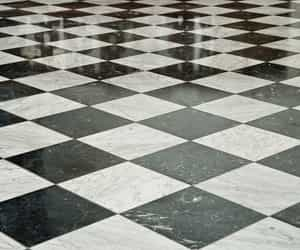 black and white, floor, and pattern image