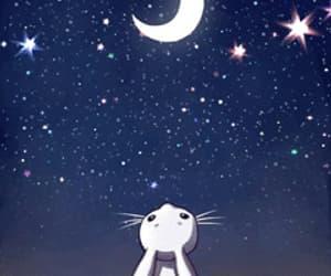 moon, stars, and rabbit image