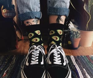 black vans, aesthetic style, and avocado socks image
