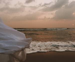 beach, white dress, and dress image