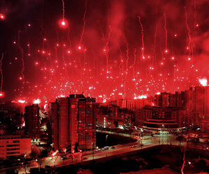 fireworks, red, and city image