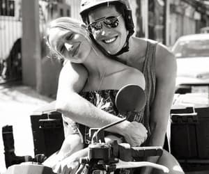 black and white, couple, and moto image