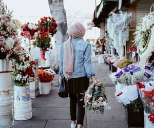 flowers, hijab, and modest image