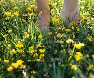 barefoot, spring, and flowers image