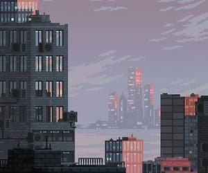 aesthetic, city, and pixel image