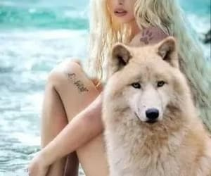 girl, wolf, and lobo blanco image